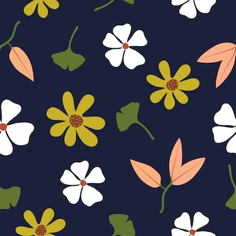 Cute hand drawn flowers seamless pattern background