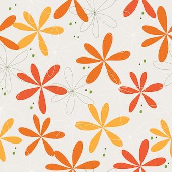 Cute hand drawn flowers seamless pattern