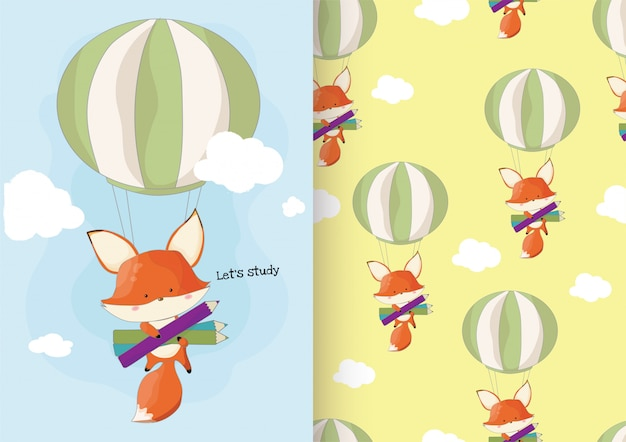 Cute hand drawn fox back to school concept with pattern