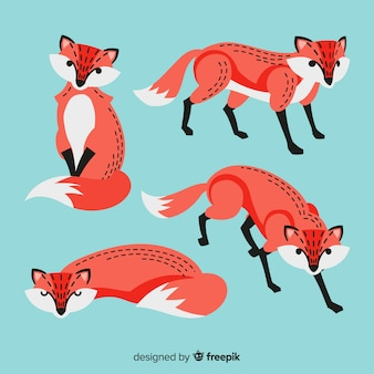 Cute hand drawn fox collection