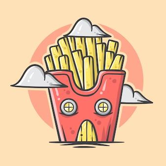 귀여운 손으로 그린 감자 튀김 집 그림