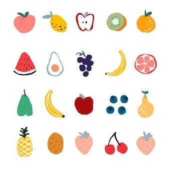 かわいい手描きフルーツセットベクトル