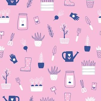 귀여운 손으로 그린 뜰을 만드는 완벽 한 패턴.