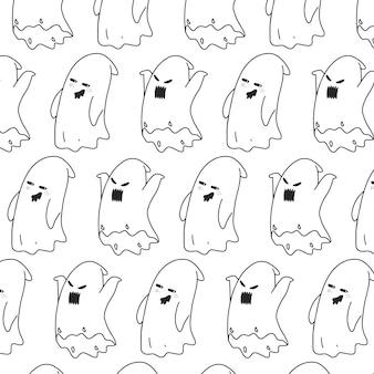 Cute hand drawn ghost pattern