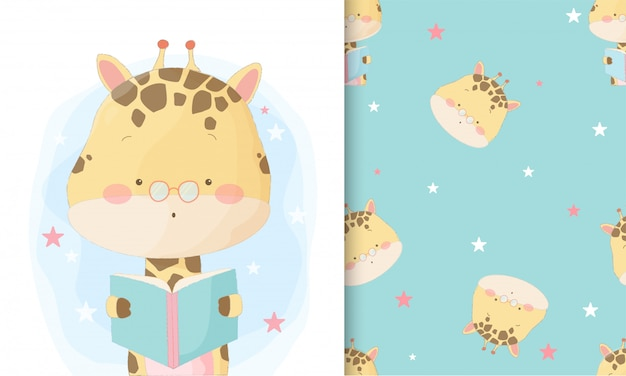 Cute hand drawn giraffe reading book with seamless pattern set