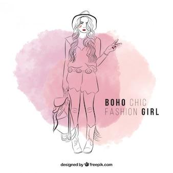 Cute hand drawn girl wearing boho clothes