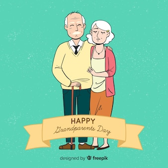 Cute hand drawn grandparents day background