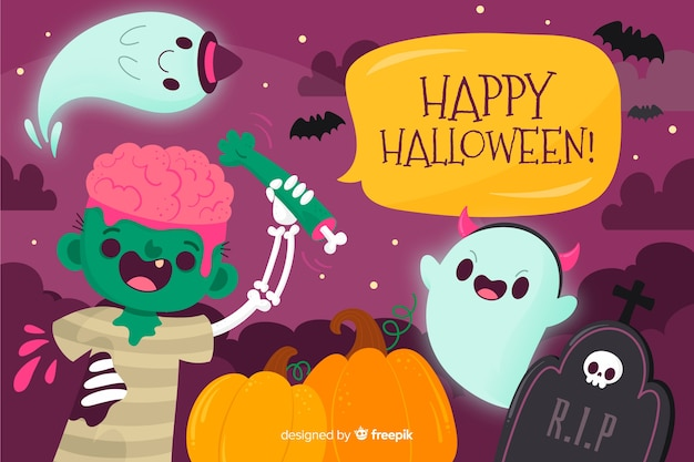 Cute hand drawn halloween background