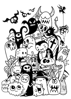 Cute hand-drawn halloween doodles