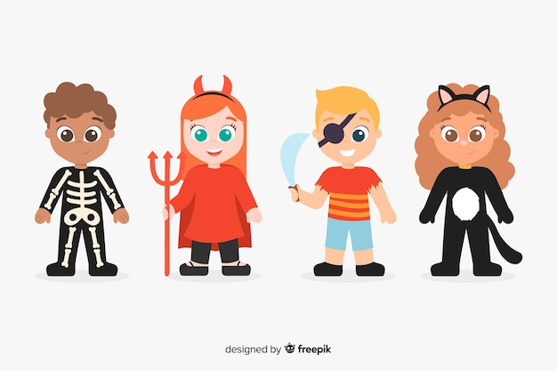 Cute hand drawn of halloween kid collection