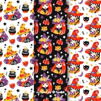 Cute hand drawn halloween witch pattern collection
