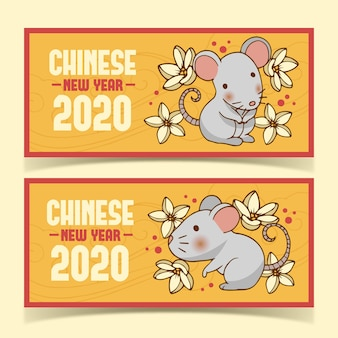 Cute hand drawn happy chinese new year banners
