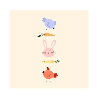 ウサギの顔、鶏、ニンジンとかわいい手描きのハッピーイースターカード。はがき、グリーティングカード、tシャツのデザインのための居心地の良いヒュッゲスカンジナビアスタイルのテンプレート。フラット漫画スタイルのベクトル図