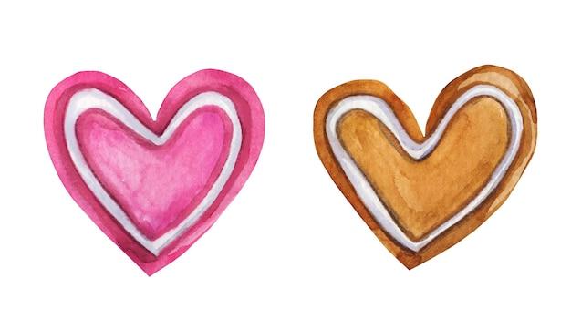 かわいい手描きのハート型のクッキーセット。