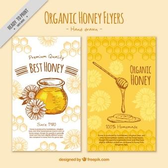 かわいい手描き蜂蜜のチラシ