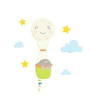 かわいい手描きイラスト、熱気球