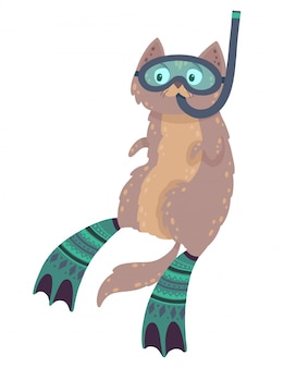 Cute hand drawn illustration with a swimming cat. cat diving in flippers and mask