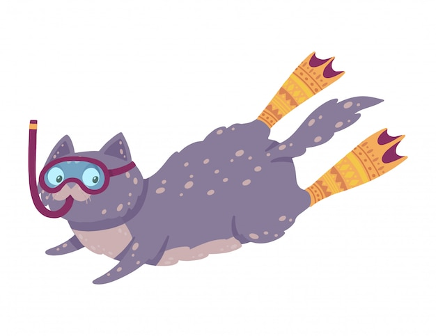 Cute hand drawn illustration with a swimming cat. cat diving in flippers and mask.