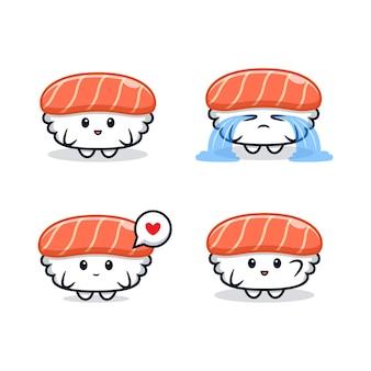 Cute hand drawn kawaii sushi character colored set