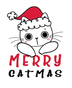 Cute hand drawn kitten cat with red christmas santa hat, merry catmas, childlike cartoon drawing flat vector