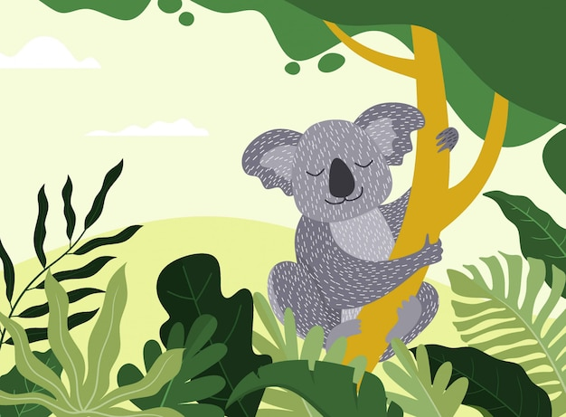 Cute hand drawn koala sleeping on the branch. lazy jungle animal character.  illustration.