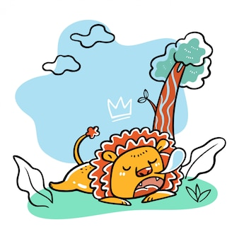 Cute hand drawn lion sleeping vector illustration