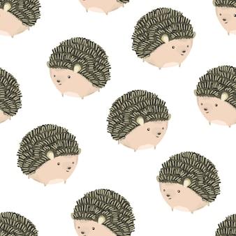 Симпатичные рисованной маленькие округлые ежики