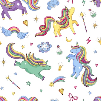 Cute hand drawn magic unicorns and stars pattern or background