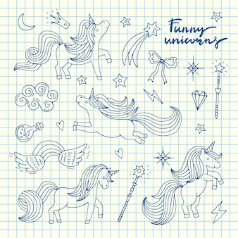 Cute hand drawn magic unicorns and stars set on blue cell sheet illustration