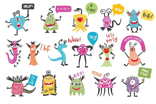 Cute hand drawn monster set with speech bubbles