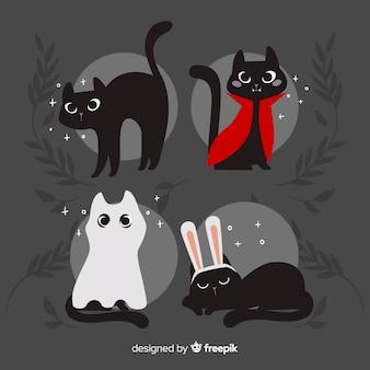 Симпатичная рисованная кошка на хэллоуин