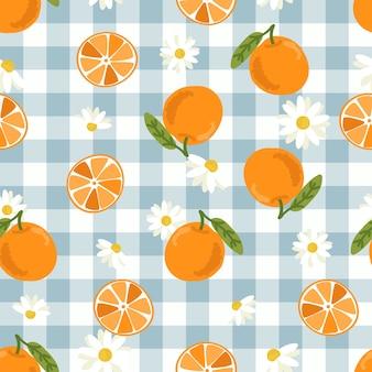 귀여운 손으로 그린 오렌지 과일과 슬라이스 원활한 패턴