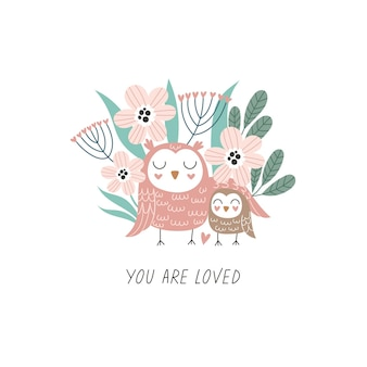 Cute hand drawn owls mom and baby with floral background cartoon vector illustration for print