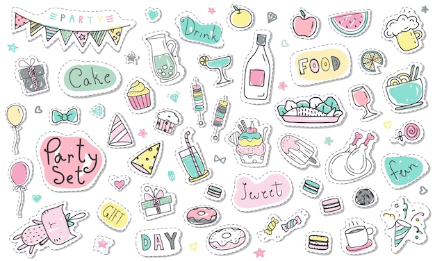 Cute hand drawn party sticker collection in pastel color
