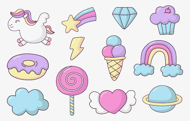 Cute hand drawn patches isolated on white.