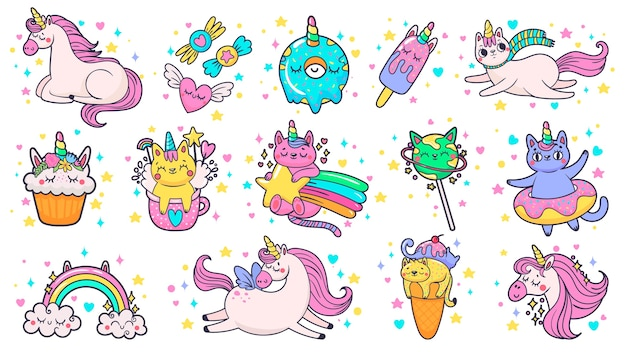 Cute hand drawn patches. magic fairytale pony unicorn, fabulous cat and sweet candy stickers