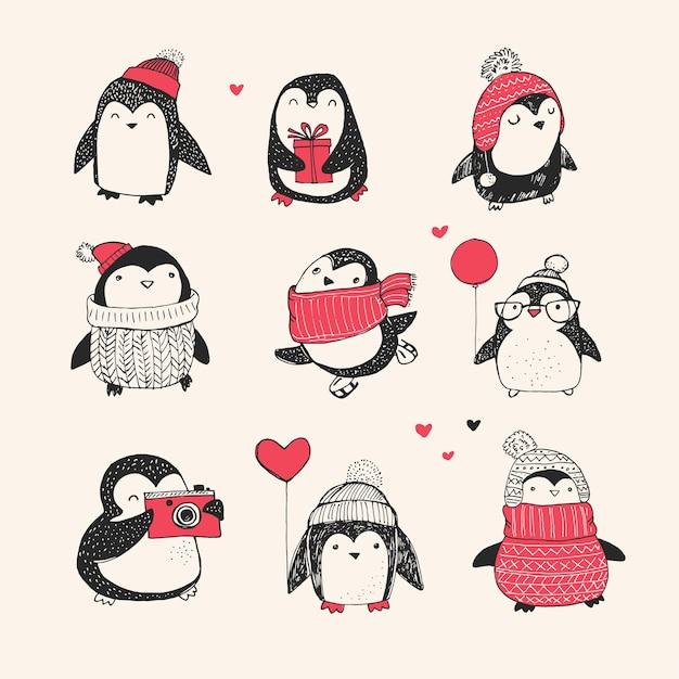 かわいい手描きのペンギンセット-メリークリスマス