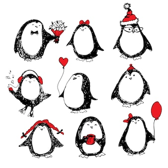 Симпатичные рисованной набор пингвинов