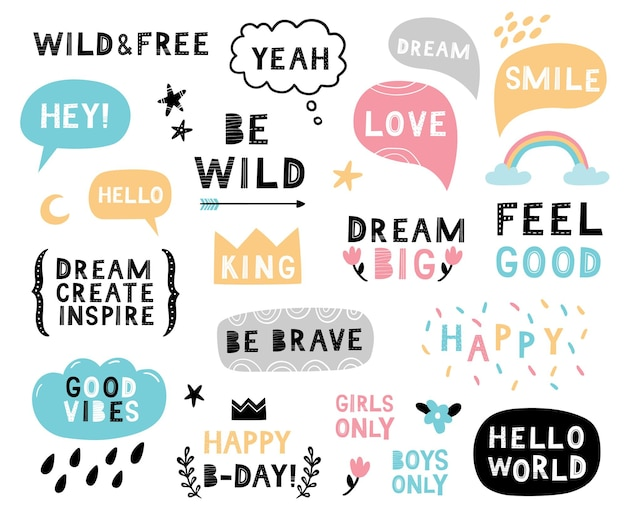 Cute hand-drawn phrases and quotes