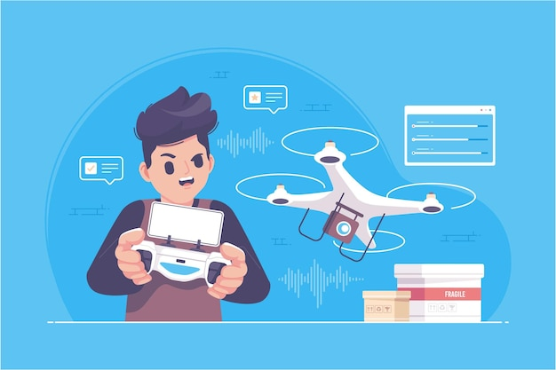 Cute hand drawn playing drone illustration