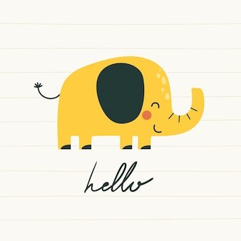 Cute hand drawn print with elephant in flat style