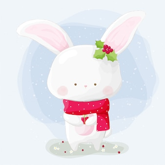 Cute hand drawn rabbit with red scarf in winter
