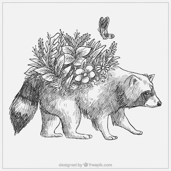 Cute hand drawn raccoon with flowers and butterfly