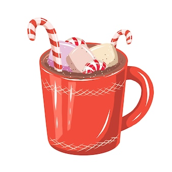 Cute hand drawn red cup of cacao with candies and marshmallows