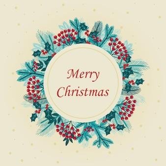 Cute hand drawn round christmas wreath of blue tree