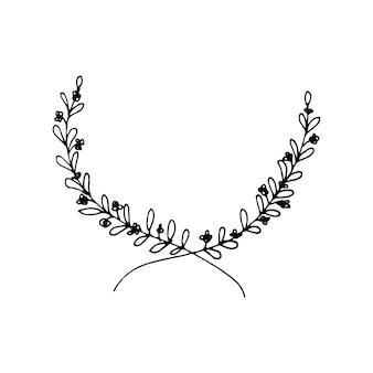 꽃 요소, 허브, 잎, 꽃, 잔가지, 나뭇가지가 있는 귀여운 손으로 그린 둥근 프레임. 웨딩 디자인, 로고 및 인사말 카드에 대 한 낙서 벡터 일러스트 레이 션.