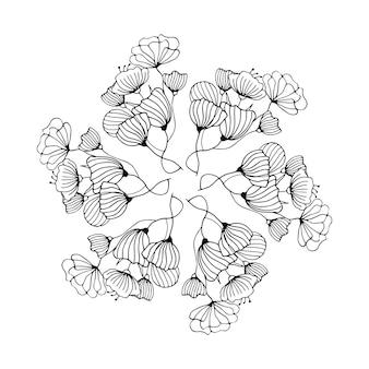 꽃 요소 허브와 함께 귀여운 손으로 그린 라운드 프레임 꽃 나뭇 가지 낙서를 나뭇잎