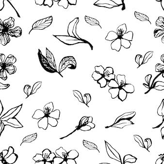 かわいい手描きのさくらのシームレスなパターン。インクスタイルの伝統的な日本または中国の春の花。さくらんぼを落書き。