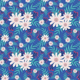 Cute hand drawn seamless floral pattern in white flowers