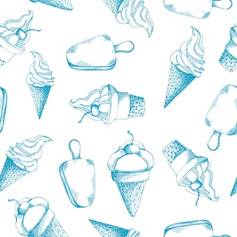 Cute hand drawn seamless pattern with different types of ice cream.